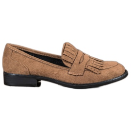 SHELOVET bruin Loafers met franjes