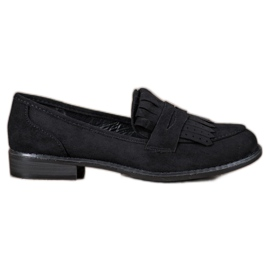 SHELOVET zwart Loafers met franjes