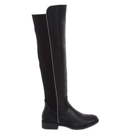 Zwarte laarzen met elastisch bovenwerk zwart 17005A-128 Zwart