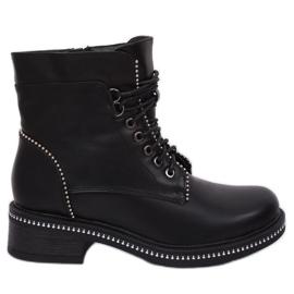 Zwart Dames veterlaarzen C137 zwart