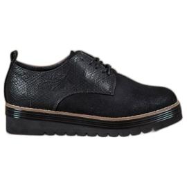 SHELOVET zwart Schoenen op het Snake Print-platform