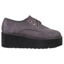 SHELOVET grijs Suède schoenen op het platform