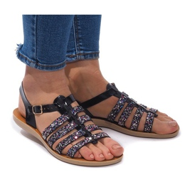Sandalen versierd met glitter 3-8 zwart