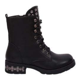 Zwarte laarzen met studs zwart KL-599 zwart