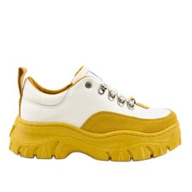 Witte en gele modieuze dames sportschoenen PF5329