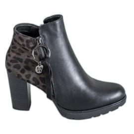 Filippo zwart Dameslaarzen met luipaardprint