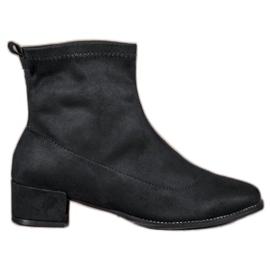 Small Swan Slip-on Suede Boots zwart