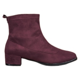 Small Swan Slip-on Suede Boots rood