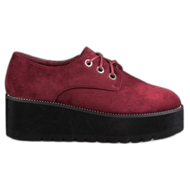 SHELOVET rood Suède schoenen op het platform