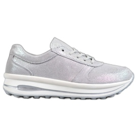 VINCEZA Glitter lederen schoenen grijs