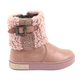 American Club Laarzen met bont op de rits roze