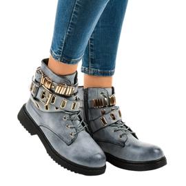 Blauwe geïsoleerde platte laarzen B2878-KB
