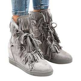 Grijze wedge sneakers met franjes H6600-36