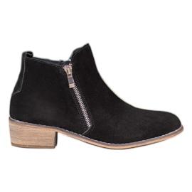 Goodin Lederen laarzen met een schuifregelaar zwart