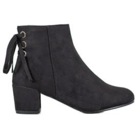 Forever Folie Suède laarzen met een strik zwart