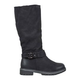 Super Me Laarzen met schapenvacht zwart
