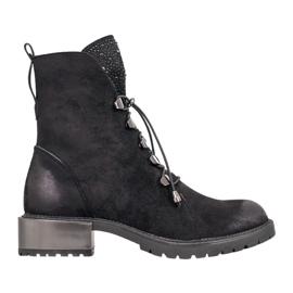 Goodin Suède laarzen met een trekkoord zwart