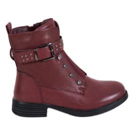 J. Star Bourgondische laarzen met elastische band rood