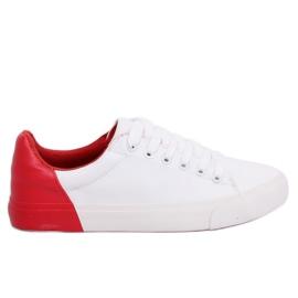 Witte en rode damessneakers A88-29 W-RED II Type