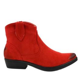 Rode platte K860 cowboylaarzen voor dames rood