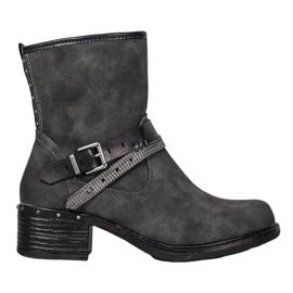 SHELOVET Hoge laarzen met een gesp grijs