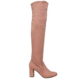Corina Elegante laarzen over de knie roze
