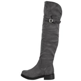 Ideal Shoes Elegante dij-hoge laarzen met een gesp grijs