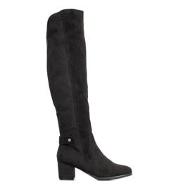 Goodin Warme laarzen over de knie zwart