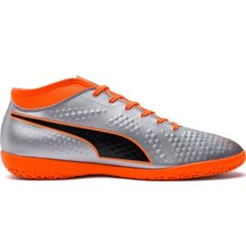 M Puma One 4 Syn It 104750 01 voetbalschoenen zilver oranje, grijs / zilver