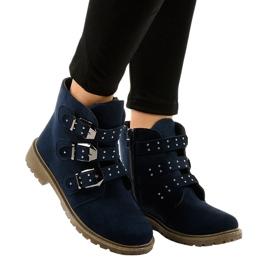 Marineblauwe suède platte laarzen met TL95-2-gespen