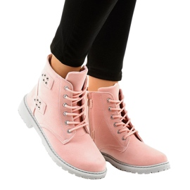 Roze suede platte laarzen TL93-4