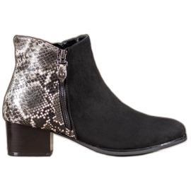 Kylie Zwarte laarzen slangenprint