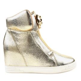 Gouden sneakers op de wedge jaguar KLS-105-5 geel