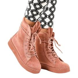 Roze suede platte laarzen 7-3727B