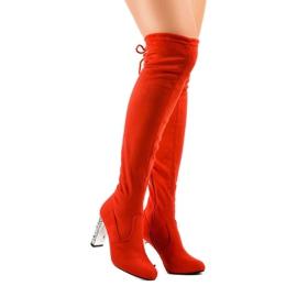 Rode suède laarzen op de BM177-paal rood