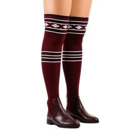 Overknee laarzen kastanjebruine sok 29-7 rood