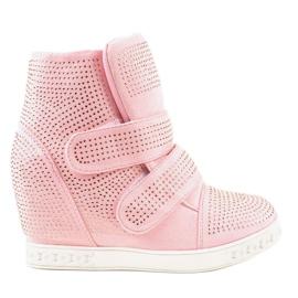 Roze wedge sneakers met KLS-112-4 studs