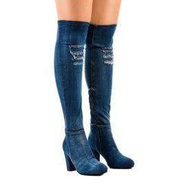 HX15135-96 jeans met scheuren marine
