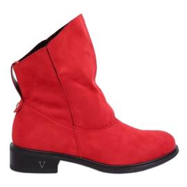 Laarzen met gekreukt bovenwerk rood 6672 Rood