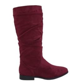 M629 Laarzen met platte hak rood