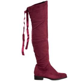 SHELOVET Suède laarzen met binding rood