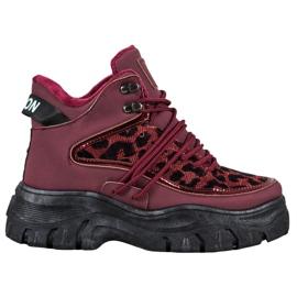 SHELOVET Sneakers met luipaardprint rood