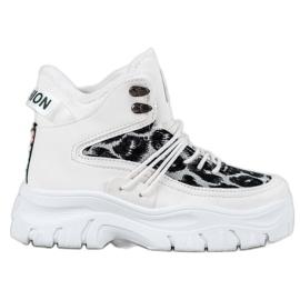 SHELOVET Sneakers met luipaardprint wit
