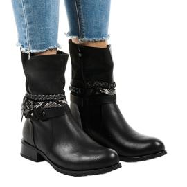 Zwarte geïsoleerde platte laarzen 4440