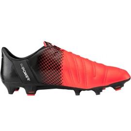 Puma evoPOWER 1.3 Lth Fg M 103850 01 voetbalschoenen zwart, oranje oranje