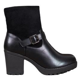 J. Star Modieuze laarzen op het platform zwart