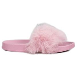 SHELOVET Rubberen slippers met bont purper
