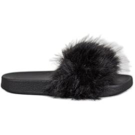 SHELOVET Rubberen slippers met bont zwart