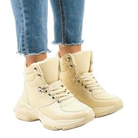Beige geïsoleerde dames sneakers C-3132 bruin