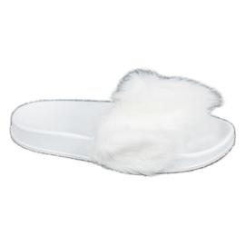SHELOVET Rubberen slippers met bont wit